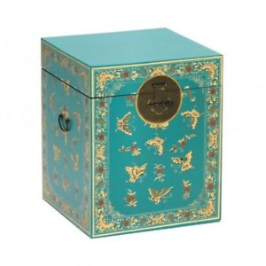 Made to Order Golden Dragon Oriental Painted Solid Wood Decorated Blue Chest