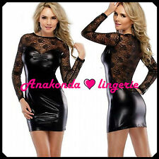 Jessica Sexy LINGERIE PVC Lace Club Gown Hot ROBES Leather latex Black Sex Toy