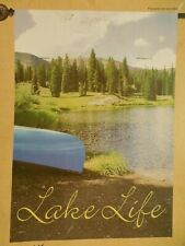"""""""Lake Life"""" Canoe by Calm Waters, Shore, Trees, for Summer decorative House flag"""