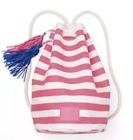 VICTORIA'S SECRET PINK STRIPE BEACH BAG BACKPACK TOTE CANVAS PURSE SHOULDER SWIM