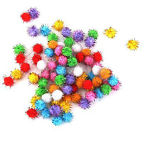 Lot 100pcs Glitter Tinsel Pompom Balls Small Pom Ball Cat Puppy pet Toys