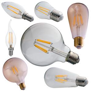 E27 E14 LED Filament 1W - 14W Leuchtmittel Vintage Kerze Glühbirne Kolben Retro