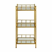 Tiered Gold Cage Accent Shelves Table | Three Shelf Minimalist Modern Bar