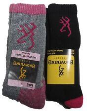 Womens Browning IMPERFECT Wool Boot Socks Black Gray 2 Pair Shoe Size Medium 6-9