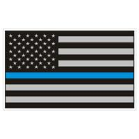 American Flag Thin Blue Line Police Sticker / Decal #159 Made in U.S.A.
