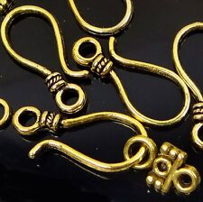 8 pair Golden Pewter Hook Clasps ~ Lead-Free
