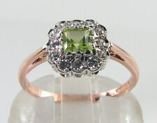 9K 9CT ROSE GOLD PERIDOT DIAMOND ART DECO INS DAINTY RING FREE RESIZE