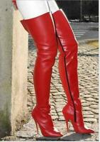 Sexy Womens Leather Over Knee Thigh Boots Pointy Toe Nightclub Zipper Up Shoes @
