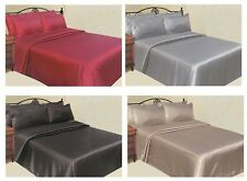 6 Piece Striped Satin Sheet Sets with Bonus Pillow Cases