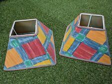 Set of 2 Colourful Lampshades Multicolour Blocks Boho Square Great Condition