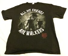 "Walking Dead AMC ""All My Friends Are Walkers"" Black Large T-Shirt Prison VGUC"