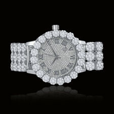 Real Diamond White Gold Tone Custom Flower Roman Dial Mens Watch W/Date IceHouse