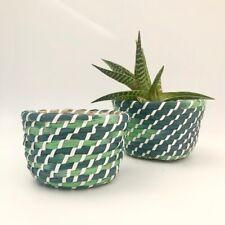 Stile rustico Marocchina in tessuto Blu Verde pianta erba Vaso di Fiori Cesto titolare