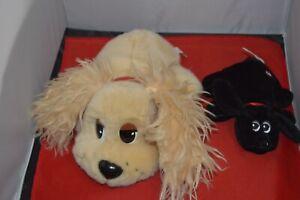 MATTEL Stuffed Plush Animal POUND PUPPIES Light Brown Puppy Dog And Black Dog