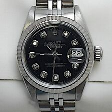 LADIES ROLEX  OYSTER PERPETUAL DATEJUST WATCH BLACK W/ DIAMONDS  Model  #69174