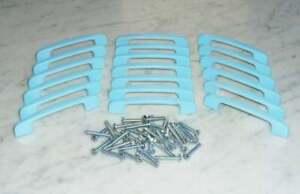 19 Baby Blue Cabinet Drawer Pull Bar Handles 4in Solid Metal Vintage MCM Taiwan