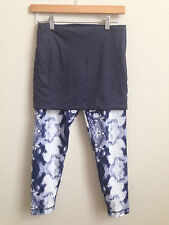 Lululemon Yin To You Crop Pant with Skirt Ink Blot White Blue size 6 RARE