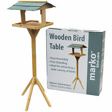TRADITIONAL GARDEN WOODEN BIRD TABLE FEEDER HOUSE FEEDING STATION FREE STANDING