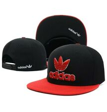 Embroidered Adidas Trefoil Flat Cap Black & Red/ Red Logo: One Size Fits Most