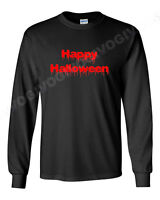 Long Sleeve Men's Happy Halloween T Shirt Scary Funny Tee Costume Spooky Horror