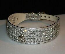 Rhinestone Dog Pet Collar 5 Row Crystal Jewel Silver Gorgeous Metallic Bling!