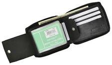 BLACK ZIPPER LEATHER BIFOLD Men's WALLET ID CARD HOLDER Zip Around Safe New