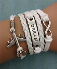 NEW Infinity aircraft Dream Friendship Leather Charm Bracelet Plated Silver B29