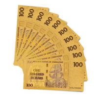 10PCS Color Gold Banknote Zimbabwe 100 Dollar Set Paper Note Collectibles