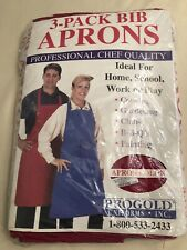 Red Chef'S Bib Aprons Pack of 3 Progold Usa Brand Nip Professional 1st Quality