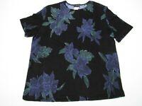 Citiknits Womens Med M Travel Knit Black Blue Flowers Blouse Top Shirt  Romantic
