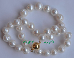 New 8-9mm White Baroque Cultured Freshwater Pearl Necklace 18 Inch 14K Gold