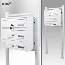 3er Briefkastenanlage Weiß Postfach 3 fach Standbriefkasten Pulverbeschichtet
