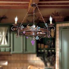 Lampadario ruota di carro rustico 3 luci in legno e ferro battuto artigianale