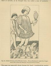 ANTIQUE ITALIAN NOBLELMAN FALCON HUNTING DOGS PLAYING CARD IMAGE OLD ART PRINT
