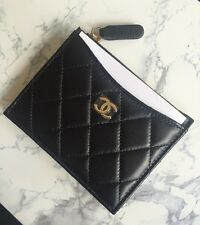 NWT CHANEL Black Clutch Classic Lambskin Credit Card Holder Zip Coin Case Wallet