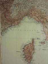 1907 datato mappa ~ North West ITALIA CORSICA TOSCANA Genova Piemonte Lombardia