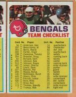 1973 Topps Football - Team Checklist - Cincinnati Bengals - Unmarked - nrmt
