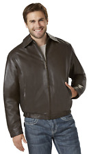 Men's Outdoor Spirit Leather Bomber Jacket Brown 2XL #NKMLD-40