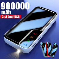 Power Bank 900000mAh Dual-USB LED Portable Fast Charger External Backup Battery