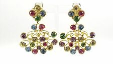 Kenneth Jay Lane Gold Plated Golden Multi Stone Cabochon clip earrings