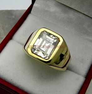 Natural White Topaz Gemstone with Gold Plated 925 Sterling Silver Mens Ring 1839