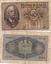 CINQUE LIRE REGNO D'ITALIA BIGLIETTO DI STATO A CORSO LEGALE D.M.27 OTTOBRE 1939