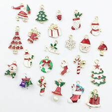 Christmas Enamel Charms Snowman/Santa Claus Pendants For Earring Neckalce Making