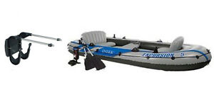 Intex Excursion 5 Inflatable Rafting and Fishing Boat with Oars & Motor Mount