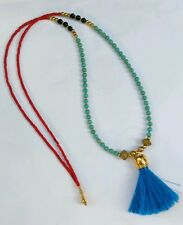 Afghan Natural Coral, Onyx, Turquoise & Fabric Tassel Tiny Seed Beads Necklace