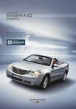Liste de prix Chrysler sebring CABRIOLET 4 08 2008 prix équipement technique couleurs