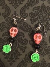 Skull & Roses Dangle Earrings