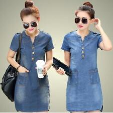 Fashion Women Denim Short Sleeve Elegant Slim A-Line Cowboy Casual Dress LG