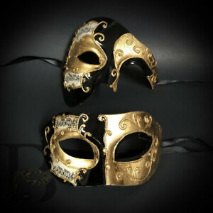 His and Hers Couples Masquerade Masks Phantom Eye Mask Musical Black and Gold