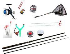 Complete Starter Fishing Tackle Set With Tackle Rod Reel Net Floats Shot  10 ft